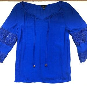 3/$15 Alyx Royal Blue Peasant Top lace sleeves
